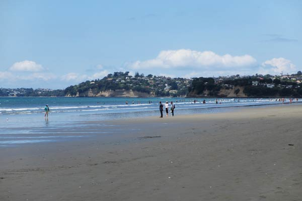 Looking south from the beach at Orewa.  (Hibiscus Coast, New Zealand)