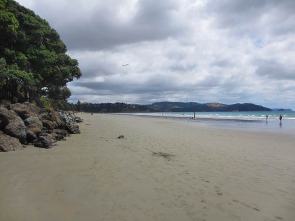 Looking north from the beach at Orewa.  (Hibiscus Coast, New Zealand)