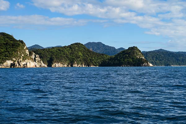 A final look at Canoe Bay as we motored by.  (Able Tasman National Park, New Zealand)